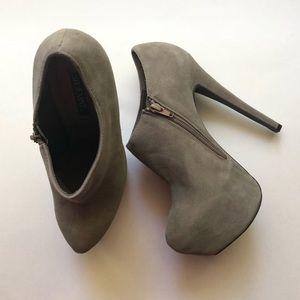 Shoemint Mychele Faux Suede Gray Ankle Booties